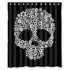 "CozyBath Sugar Skull Waterproof Polyester Fabric 60""w x 72""h Shower Curtain and"