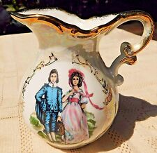 VINTAGE NORCREST PORCELAIN PITCHER W/ LUSTRE RAINBOW FINISH - BLUE BOY & PINKIE