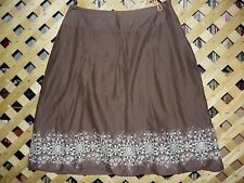 St. John's Bay Brown Floral Detailed Cotton Pleated A Line Skirt Size 8 NEW!