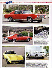 1970 Chevy + Monte Carlo + Chevelle SS 454 + Camaro Article - Must See !!