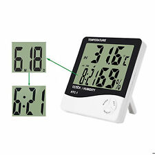 LCD Digital Temperature Humidity Meter Thermometer Desktop/Wall Clock HTC-1