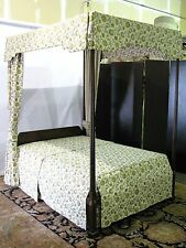 Rare Kittinger Historic Newport Mahogany Canopy Bed w/Original Custom Hangings