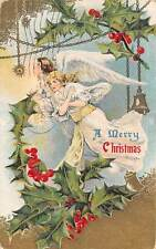 A Merry Christmas! Beautiful Angels, Mistletoes, Bell 1910