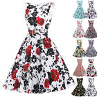 FLORAL 1950s 60s CREW NECK VINTAGE PINUP SWING PROM PARTY DRESS S-XL