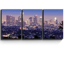 """Wall26 3 Piece Canvas Print - Los Angeles skyline in evening - 16""""x24""""x3 Panels"""