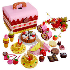 Wooden Pretend Play Toy Cake Icecream and Tea Fruit Cutting Set in carrying box
