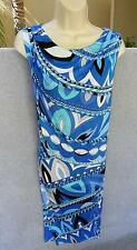 EMILIO PUCCI COMMESSA NWT NEW PRINT DRESS BLUE/NAVY/AQUA/WHITE SIZE 44 ITALY