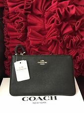 NWT COACH Black Crossgrain Leather Large Zip Wristlet/Bag F57465 With Gift Box