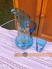 VICTORIAN (AQUATEALBLUE )APPLIED HANDLE ENAMEL PAINTED FLOWERS PITCHER AND GLASS