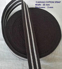 35mm cotton Tape Canvas Brown white Double lining webbing Bunting straps x 1yard