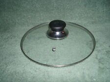 """9 1/8"""" TEMPERED GLASS POT LID - Metal Rim & Heat Guard Handle - USED Cookware"""