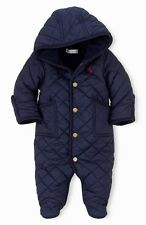 NWT Polo Ralph Lauren Infant Baby Bunting Snowsuit Coverall 9 Months Navy Blue