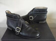 F TROUPE BOOTS ANKLE BOOTS FLATS SHOES BUCKLE STRAP BLACK LEATHER UK 5/5.5 VGC!