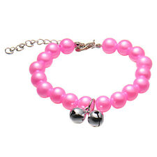 Adjustable Pet Dog Puppy Cat Pearls Necklace Collar Safety Collar Buckle Bell