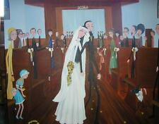NEW YORK NY CITY MODERN RETRO CATHOLIC CHURCH BRIDE GROOM WEDDING OIL PAINTING