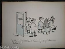 """CLIFFORD C LEWIS """"CLEW"""" Original Pen & Ink Cartoon - Old Ladies in Lab #294"""