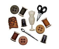 Sewing Room Scissors Needle Thimble Novelty Buttons Jesse James Theme Pack
