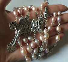 AAA 9MM Real Pearl & Rose Rosary Beads Crucifix Cross Catholic Necklace Gift Box
