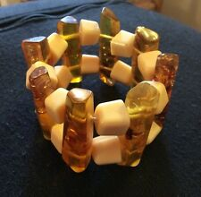 Vintage Faux Amber Confetti Lucite Stretch Bangle Statement Bracelet