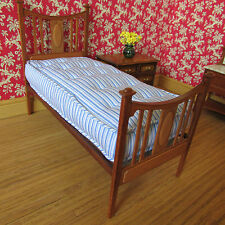 Bed ~ SINGLE ~ MAHOGANY & PEARWOOD ~ with mattress ~ Dollhouse Miniature ~ 1:12