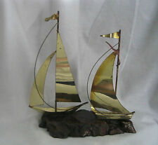 Decorative  Yachts Sailboats - Metal Ships -  Nautical Decor on Wood stand