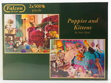 LOT 31661 Falcon Puzzle 11097 Puppies & Kittens Hunde Katze 2x 500 Teile NEU OVP