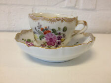 Antique 19th Cent. German Porcelain Ernst Teichert Cup & Saucer w/ Floral Dec.