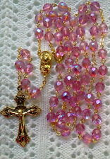 SHERBET PINK ROSE AB CRYSTAL ROSARY - 18K GOLD PLATED MADE IN CZECH