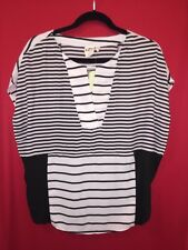 NWT Anthropologie Madrigal Stripe Top By One September Size XS Black White