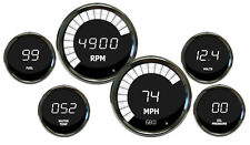 METRIC (KPH) INTELLITRONIX DIGITAL GAUGE SET with Black Bezels in WHITE LEDs