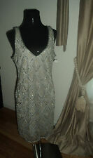 Pisarro Nights Brand Evening Gown totally beaded lots of bling US Dress Size 14