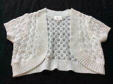 Girl 8 9 10 Justice White Glitter Crochet Bolero Shrug Sweater