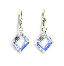 "Sterling Silver Square Swarovski Element Crystal Dangle Leverback 1.5"" Earring"