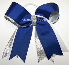 Blue Cheer Bow Royal White Silver Ribbon Ponytail Holder Girls Sports Accessory