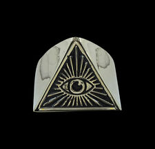 Bronze All Seeing Eye of Illuminati Ring with Enamel-Any Size-Free Shipping