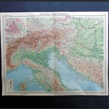 Northern Italy & Austria - Vintage 1922 Map by Bartholomew