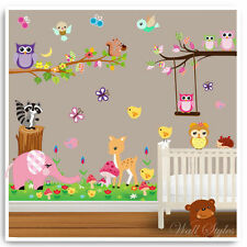 Owl Animal Wall Stickers Jungle Zoo Elephant Tree Nursery Baby Room Decals Art