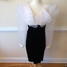 Positively Ellyn 80's Vintage Wiggle Dress Ruffled Layered Chiffon Sheer Sleeves