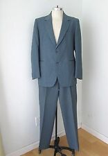 Vtg 80s New Wave Le Tigre Blue Beige Pinstripe 2-Pc Suit Pleated Pants 44