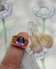 Ravissante bague ancienne Art Deco vintage Or Argent spinelle violette
