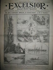 GUERRE ITALIE TURQUIE TRIPOLI OCCUPATION ITALIENNE JOURNAL EXCELSIOR 17/10/1911