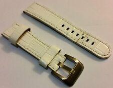 Weißes 22mm Pu Leder Uhren Armband mit Edelstahl Dornschließe gebraucht