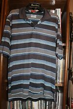 Under Armour Gray Blue Striped Loose Fit golf Polo Shirt Double Eagle L (bin112)