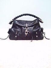 Francesco Biasia designer black leather shoulder hand bag clasp workwear