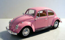 1967 Pink 1/24  VW Beetle Diecast Car with Outside Door Mirrors