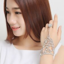 Brides Crystal Hand Chain With Finger Ring Jewelry Bracelet Wedding Prom Bangle