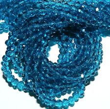 CR166L2 Teal Blue 4x3mm Rondelle Faceted Cut Crystal Glass Beads 12""