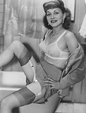 1950s Pinup posing in bra and pulled up skirt 8 x 10 Photograph