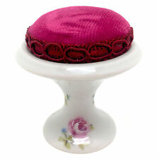 "Vintage Limoges France Pin Cushion Rose Design 2.25"" NEW"