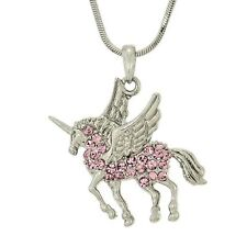 W Swarovski Crystal UNICORN Pink Flying Pegasus Horse Pendant Necklace Jewelry